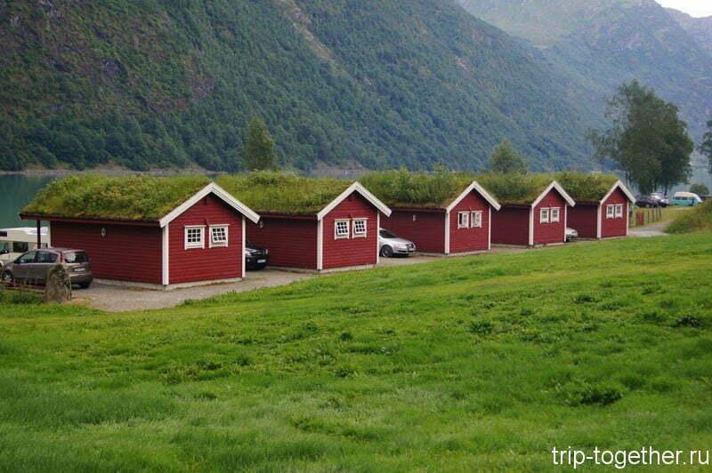 Кемпинг кабины на берегу озера Олден, Норвегия