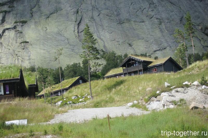 Традиционные норвежские дома с травой на крыше по дороге Осло Ставангер