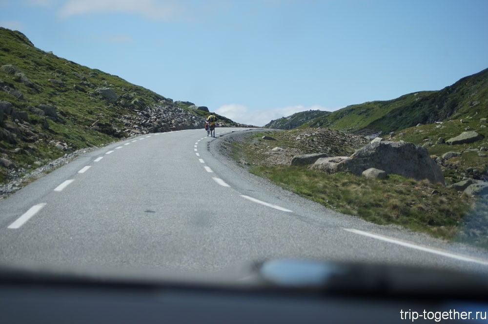 Велосипедист в Норвегии