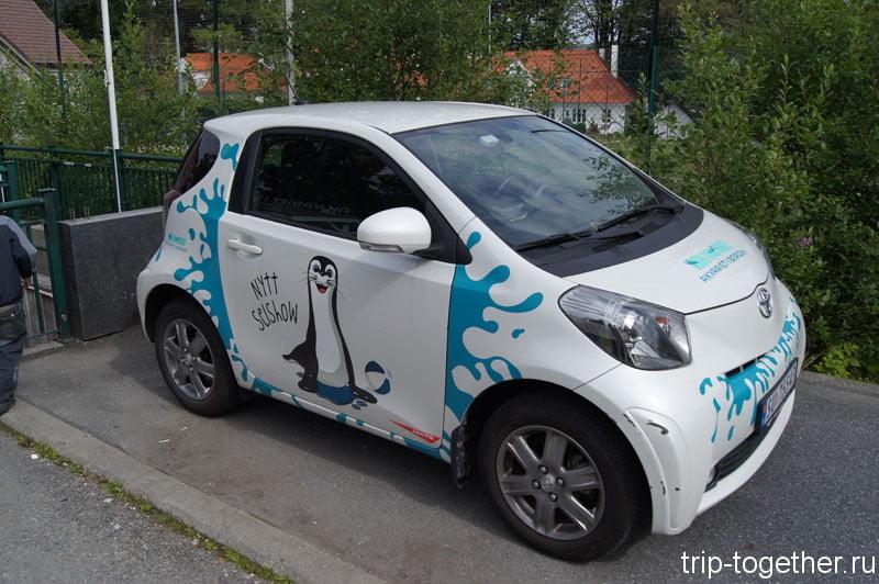 Электромобиль рядом с Бергенским аквариумом