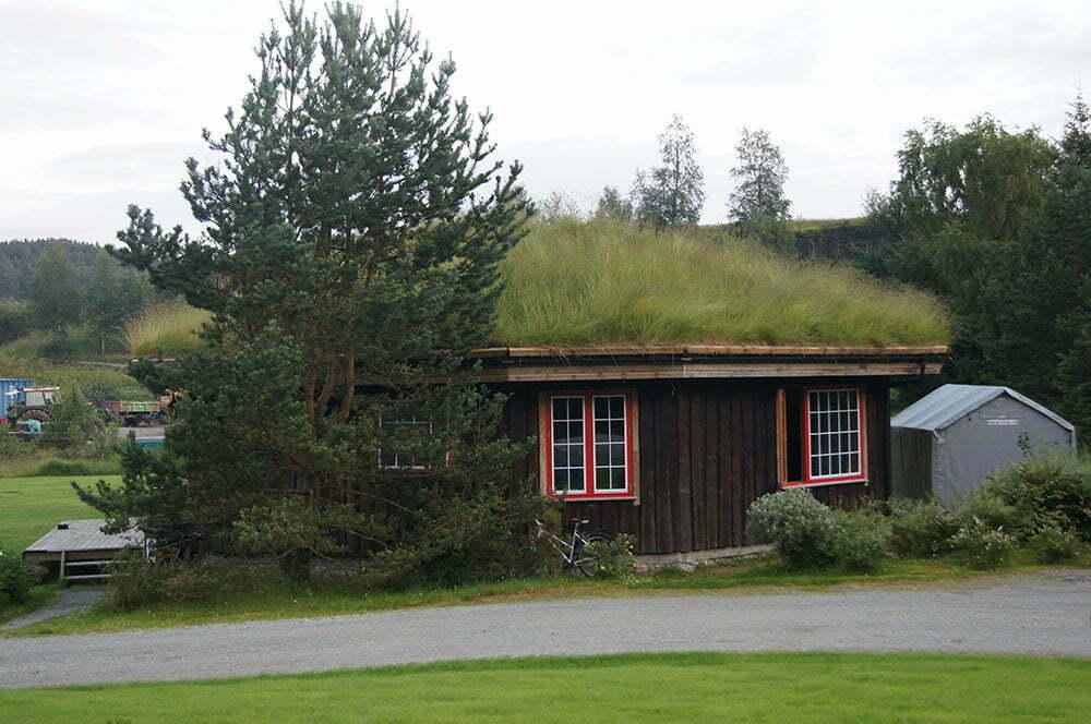 Традиционный норвежский дом с крышей из травы