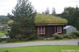 Традиционный норвежский дом с травой на крыше