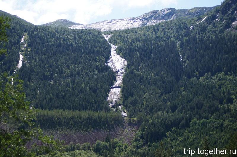 Водопады в Норвегии по дороге Осло - Ставангер