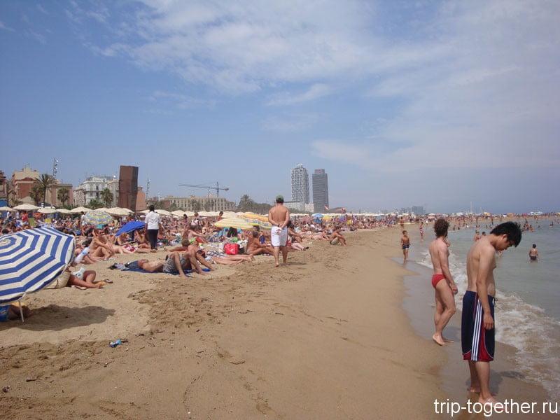 Вид пляжа Барселонета в августе в разгар сезона