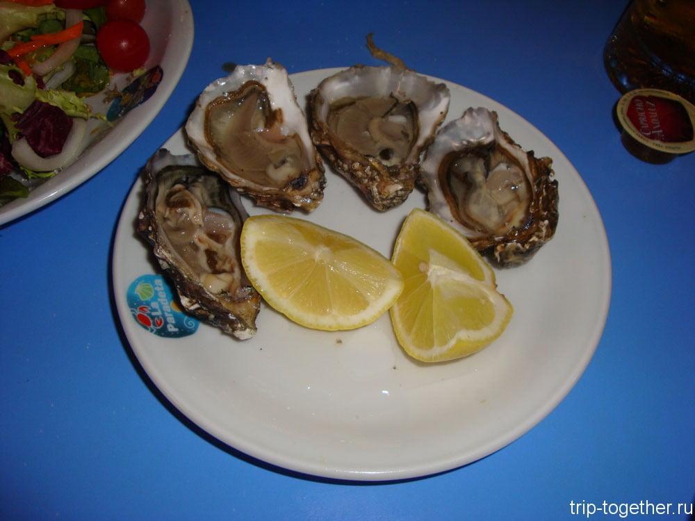 Устрицы, в морском ресторане