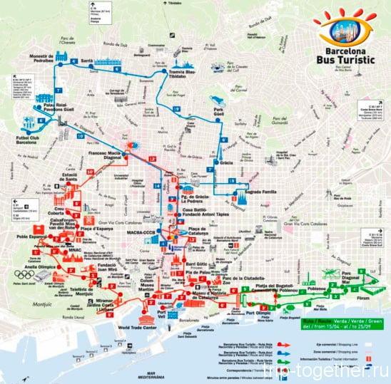 Карта маршрутов туристического автобуса Барселоны