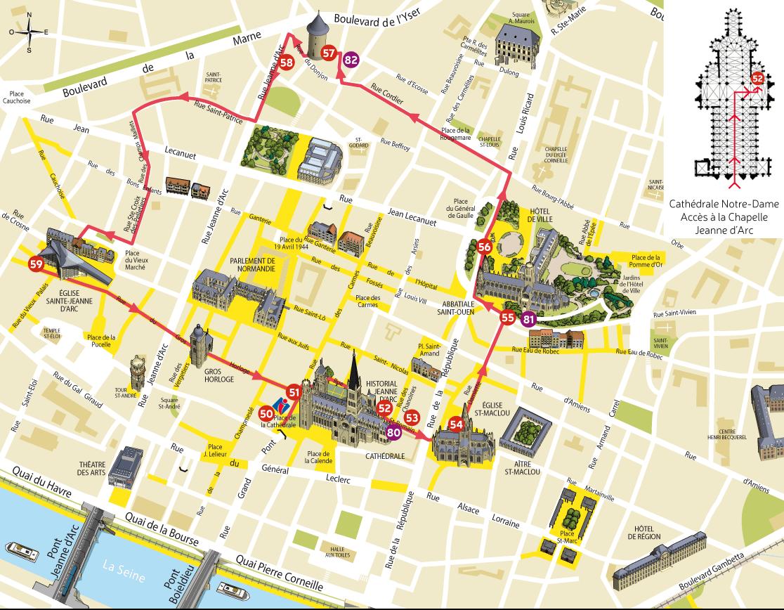 Достопримечательности Руана на карте