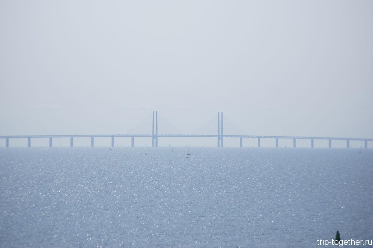 Мост между Швецией и Данией больше 7км