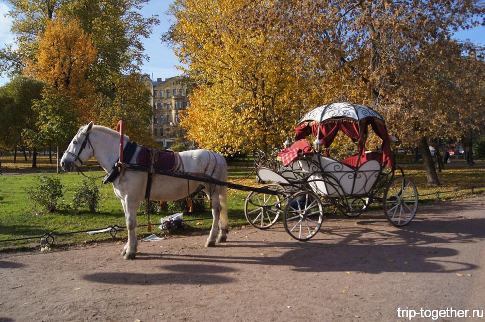 Карета Золушки перед Ленинградским зоопарком