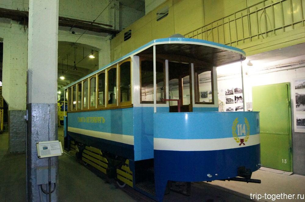 Конка № 114 - экспонат музея электротранспорта в Санкт-Петербурге
