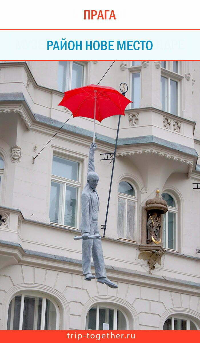 Подвешенный человек в Праге, район Нове место