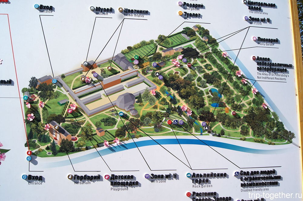 Ботанический сад в санкт-петербурге схема