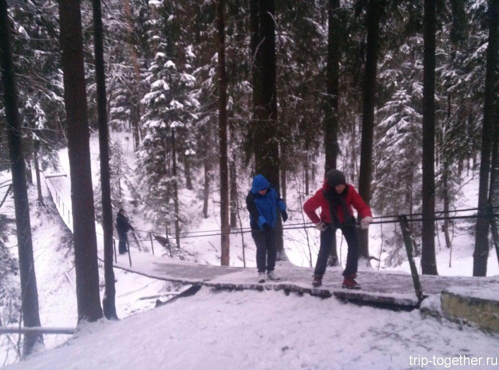 Подвесной мост в Токсовском лесопарке зимой