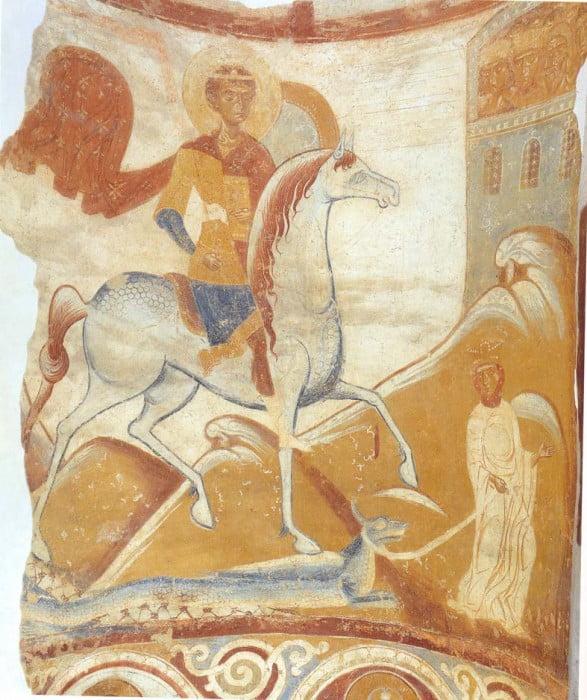 Фреска Чудо Георгия о змие, Старая Ладога