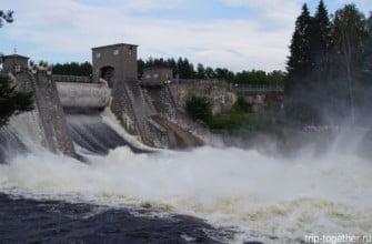 Пуск воды на плотине в Иматре. Финляндия.