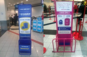 Проверка габаритов багажа и ручной клади Ryanair, Wizzair