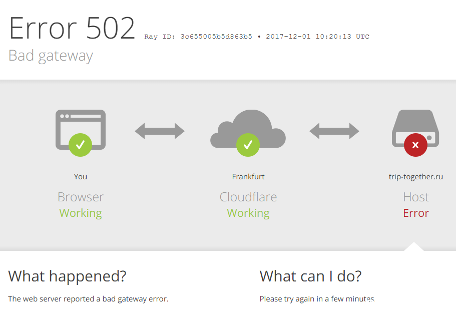 Ошибка от Cloudflare