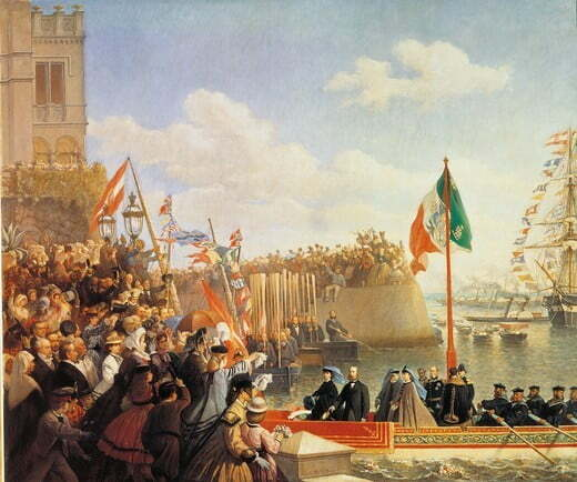 The Departure of Maximilian and Charlotte to Mexico, by Dell'Acqua Cesare, 19th Century, oil on canvas, cm 129 x 155
