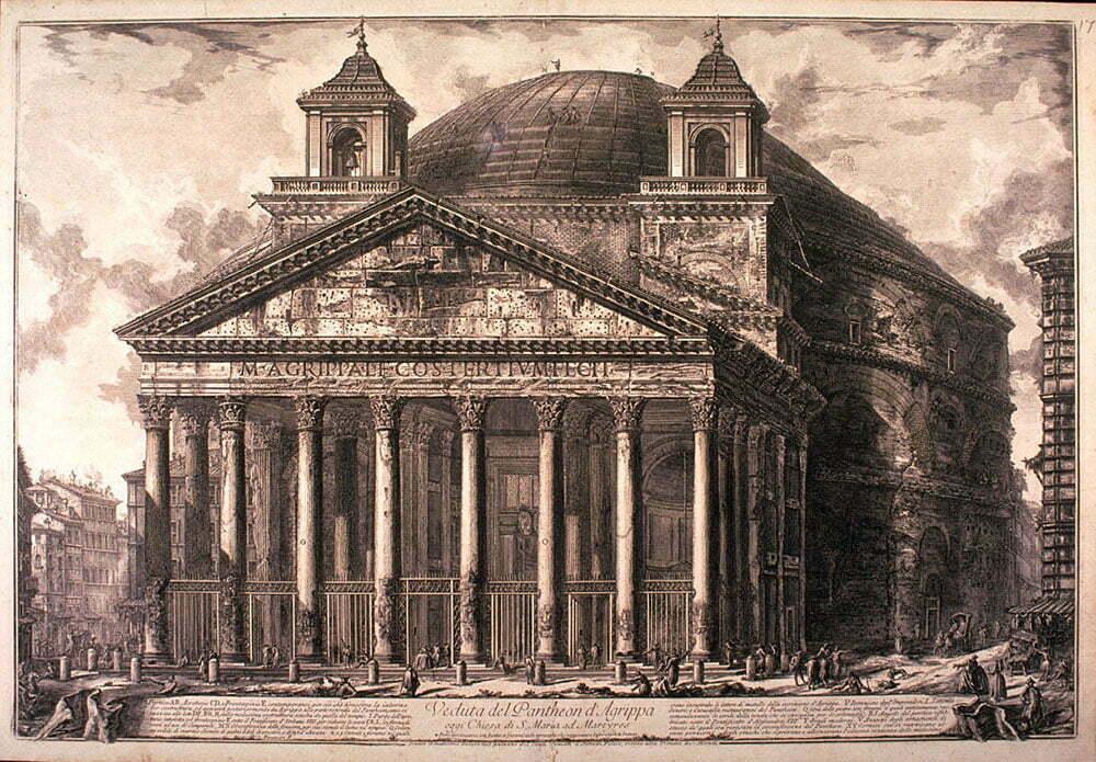 Вид Рима, Пиранези, 1761 год, хранится в музее Сан Франциско
