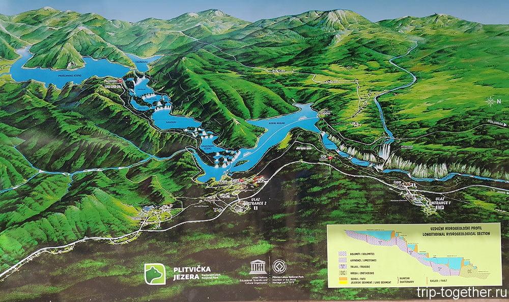 Плитвицкие озера, карта парка