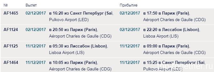 Лиссабон - рейсы