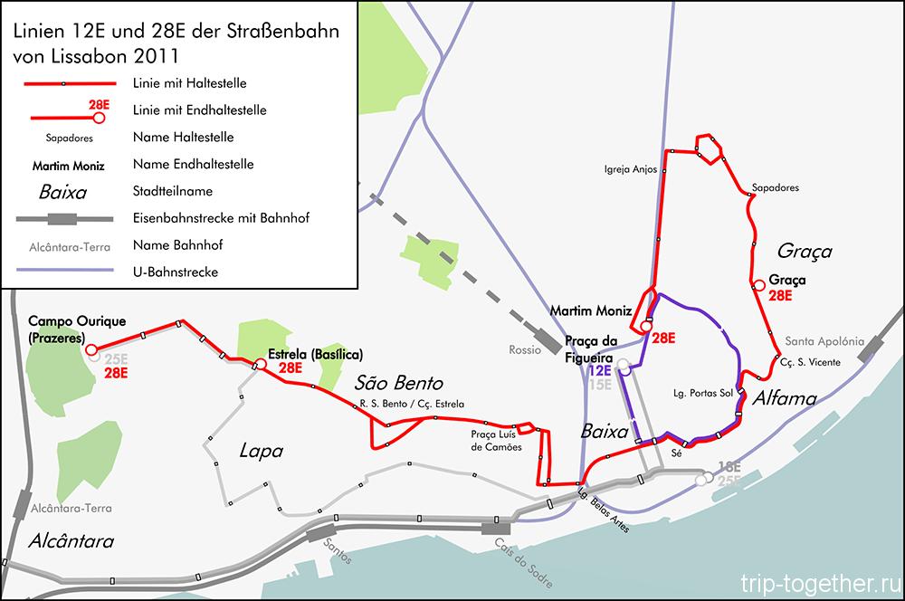 Карта маршрута №28 в Лиссабоне