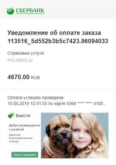 Чек оплаты Зеленой карты на сайте Polis812