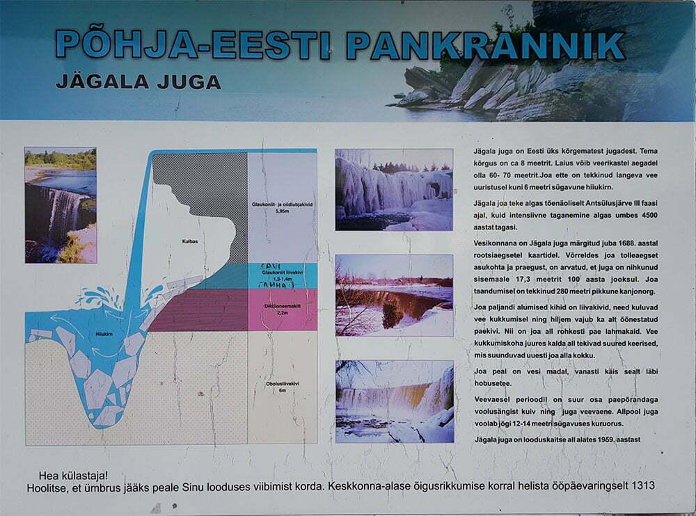 Информационный плакат у водопада Ягала