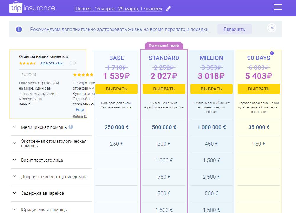 Tripinsurance - стоимость недели в Шенгене с промокодом