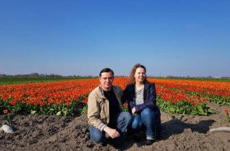 Елена и Николай Шиковы, цветущие тюльпановые поля