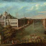 Жан Батист Ванмур -- Великий Визирь движется через Атмейдан; Голубая мечеть слева, 1727-1737