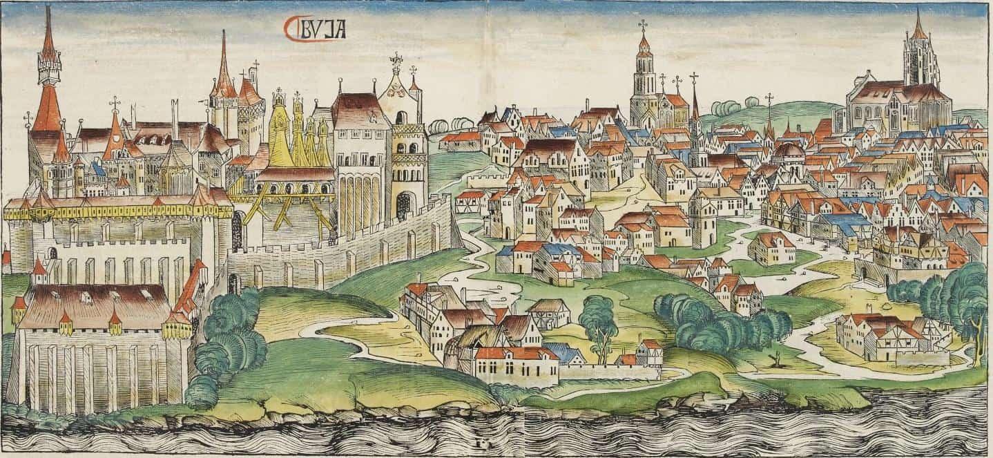 Изображение Буды 1448 года из Нюрнбергской хроники