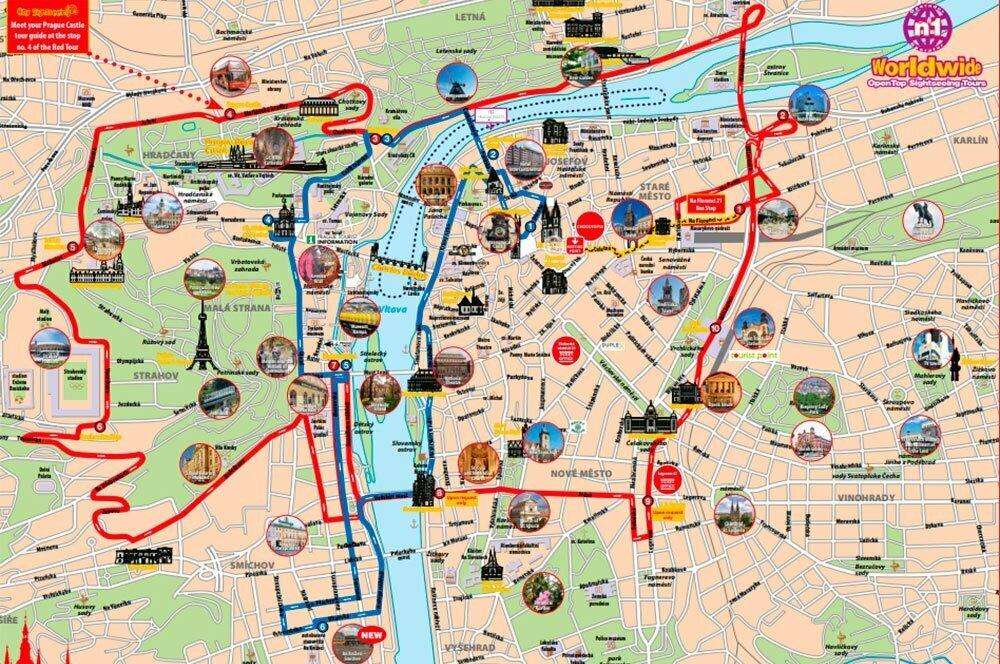 Маршрут туристического автобуса в Праге