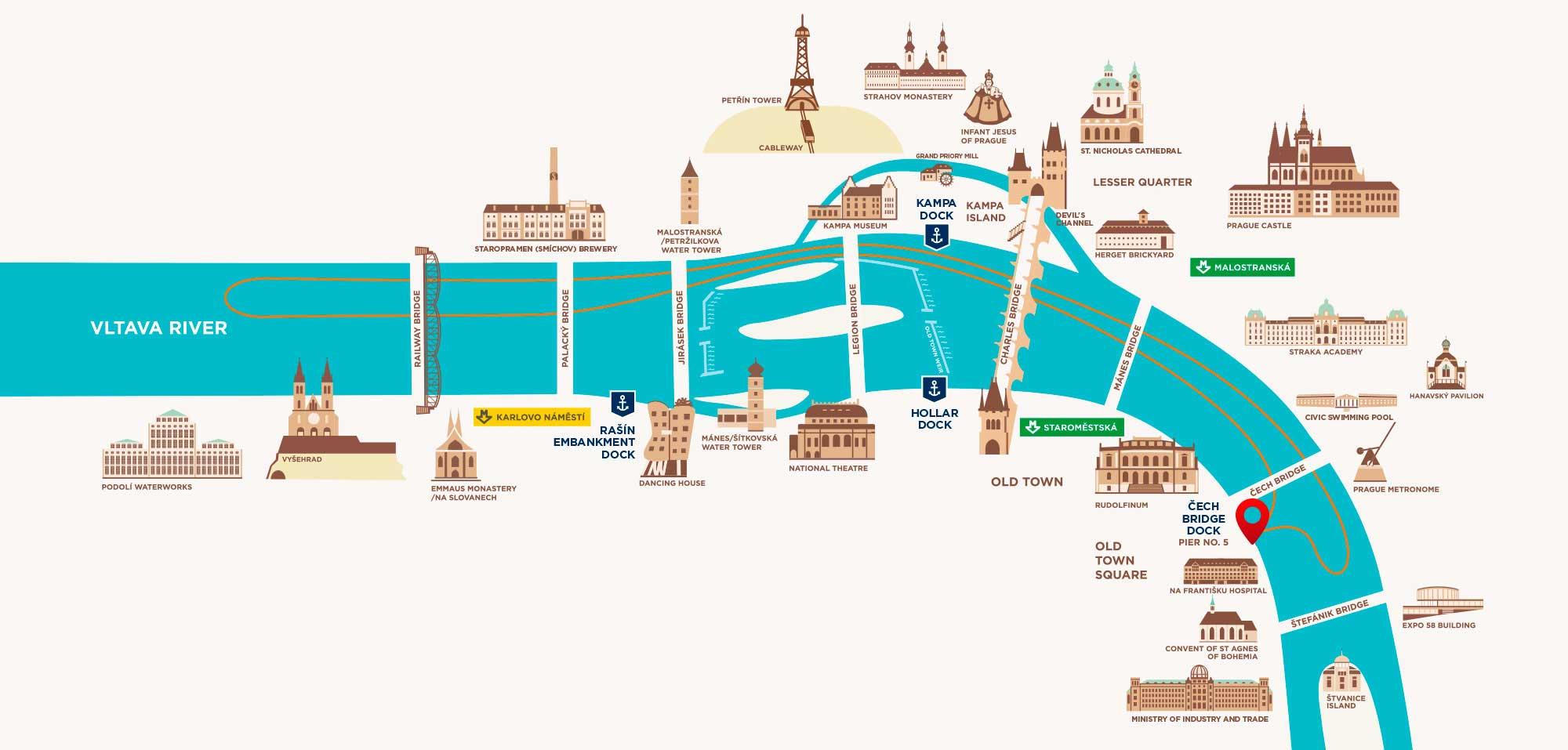 Схема движения прогулочных корабликов по Влтаве