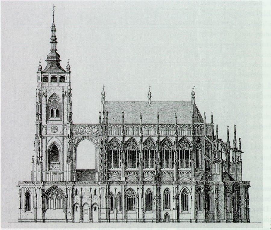 Иллюстрация из австрийской книги 1877 года, так выглядел собор в 1310-1437 годах, реконструкция