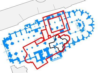 План расположения ротонды и трехнефной базилики относительно Собора Святого Вита