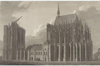 Кёльнский собор с южной стороны, 1809 год. Michael Angelo Quaglio