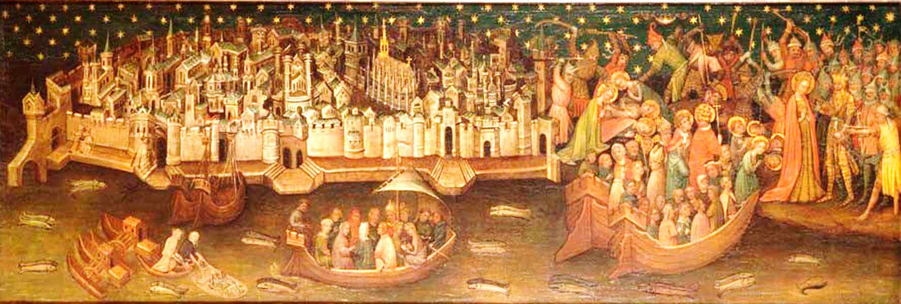 Мученичество Святой Урсулы на фоне Кёльна