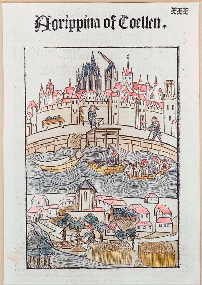 """Вид на город """"Агриппина или Кельн"""" из Кельнской хроники , напечатанный в 1499 году Иоганном Кельхоффом д. J."""