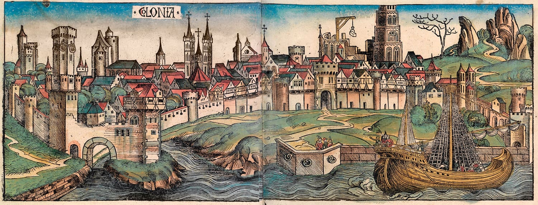 Изображение города Кёльн из Нюрнбергской хроники, 1493 год