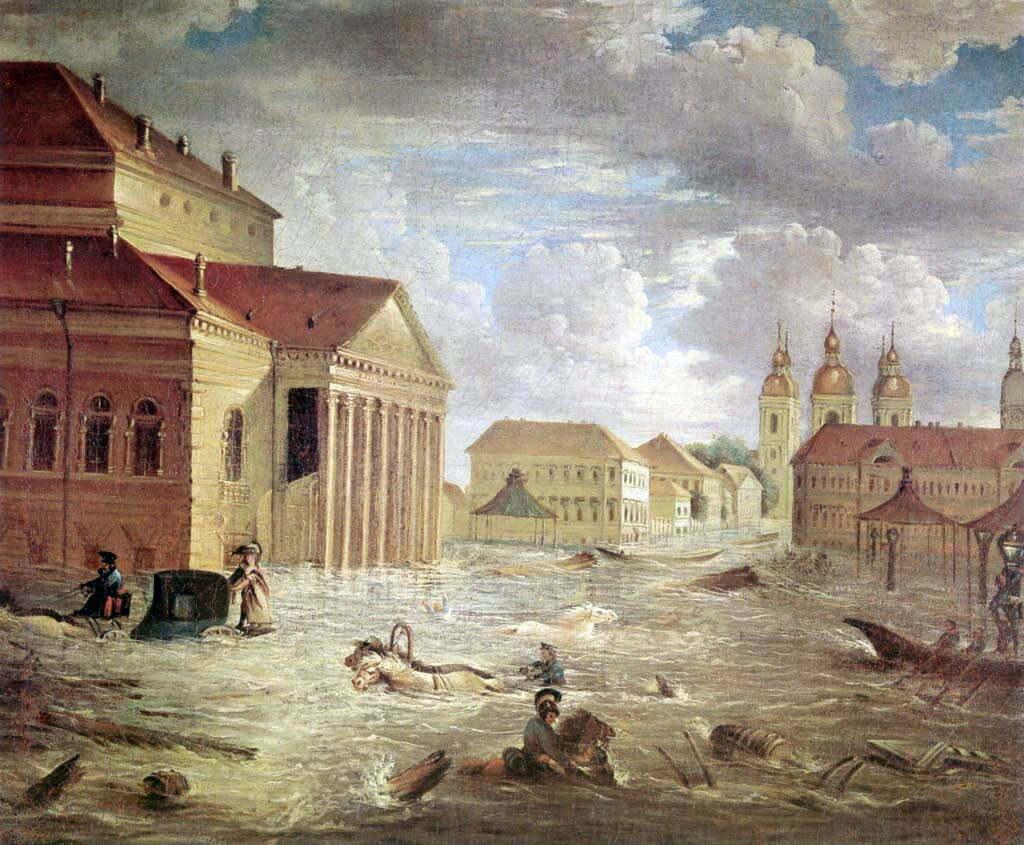7 ноября 1824 года на площади у Большого театра. Фёдор Яковлевич Алексеев