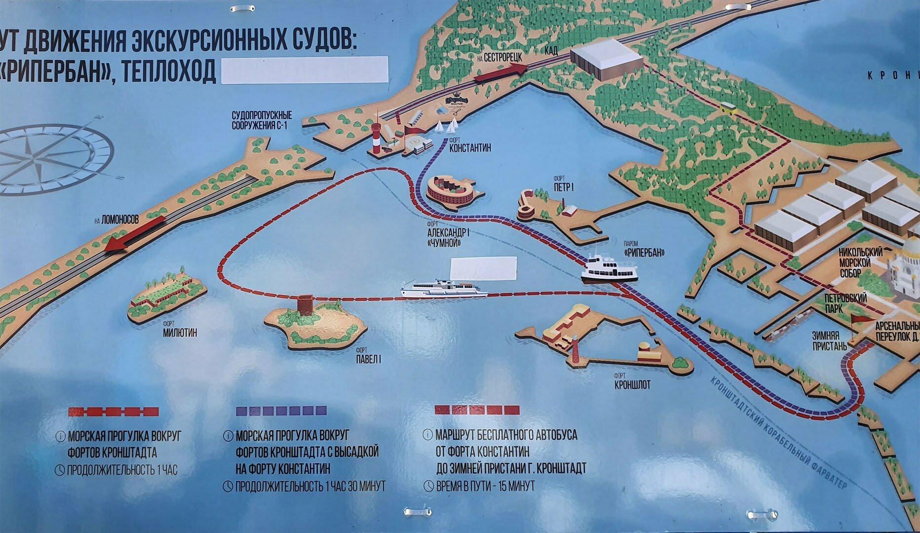 Схема движения прогулочных корабликов от Зимней пристани Кронштадта