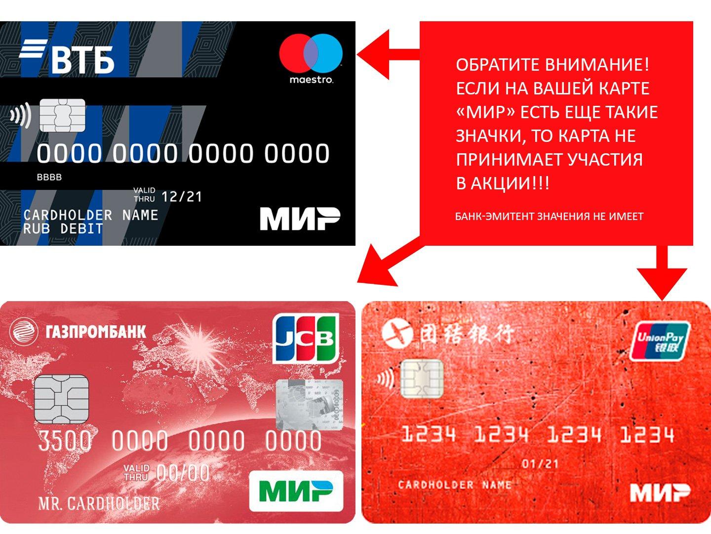 Банковские карты платежной системы Мир, не принимающие участия в акции Ростуризма - кешбэк 20% за путешествия по России