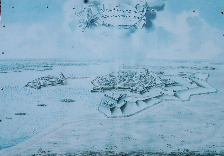 Вид Кексгольмской крепости в 18 веке, рисунок