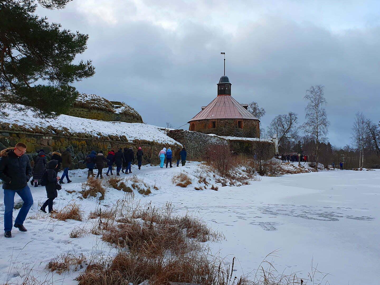 Крепость Корела в Приозерске зимой