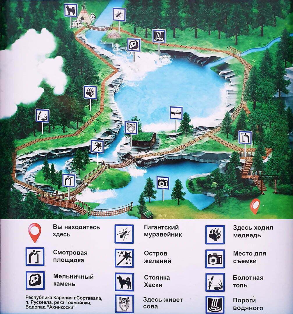Карта экологической тропы рядом с водопадами